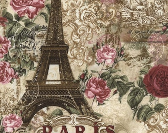 Paris Rendezvous Collage on Natural Background by the Half Yard