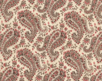 Paris Rendezvous Paisley on Cream Background by the Half Yard