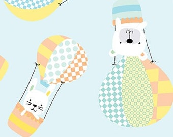 Breezy Baby - Up Up and Away on Aqua background - by the Half Yard