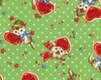 Pocket Kittens - Valentine Kittens on Green Dot Background by the Half Yard