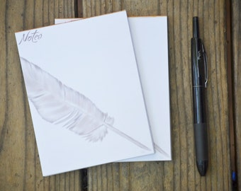 Feather Print Notepad - digital acrylic painting of feather, note pad, 4.25x5.5