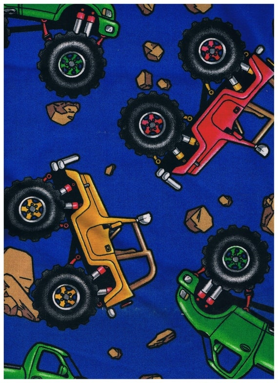 Large monster truck jeep fabric by daisy kingdom 1 2 yard for Monster truck fabric