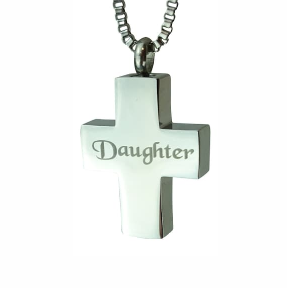 Daughter cross urn pendant memorial ash cremation keepsake for Father daughter cremation jewelry