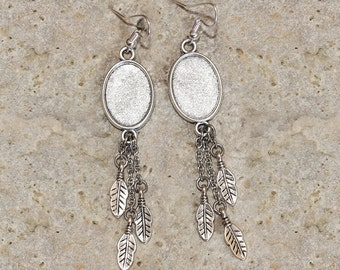 support for oval cabochon 13 X 18 mm Silver earrings