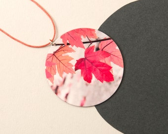 Autumn Pendant - Autumn colours - wearable art - Autumn leaves necklace