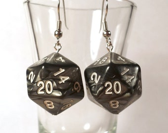 D20 Gray Marble Dice Earrings