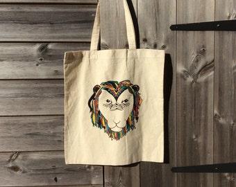 Screen printed lion tote bag. Colourful lion. Shopping bag. Eco-friendly bag