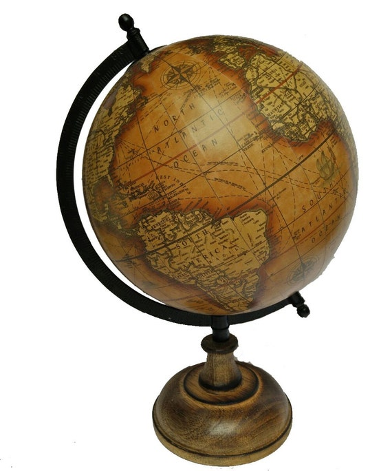 Items Similar To Brown Ocean Antique Look World Globe Home