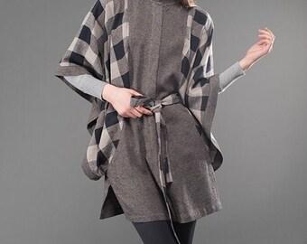 LINEN CLOAK - COAT, Grey Linen Cloat, Coat, Spring, Autumn Coat, Grey Coat