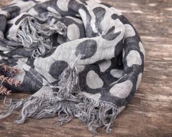 Linen Scarf, Eco Scarf, Natural Scarf, Grey Scarf
