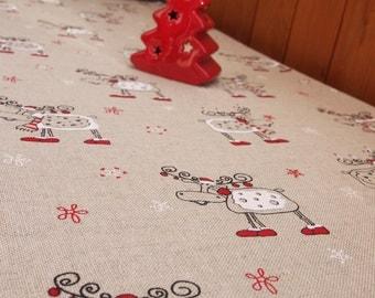 Christmas Linen/Cotton Tablecloth, Linen table top, Linen table cover, Christmas Tablecloth