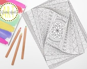 Printable Adult Coloring Book Page, DIY Digital Wall Art, Relaxing Zen, Planner, Gifts for Her, Girls Night Fun, Mother, Wife,Gifts Under 5