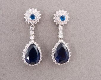 Sapphire Earrings, Wedding Earrings, Swarovski Earrings, White Gold Earrings, Bridesmaids Earrings, Crystal Earrings, Blue Bridal Earrings