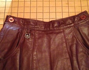 Vintage 1980s Etienne Aigner Leather A-Line Skirt