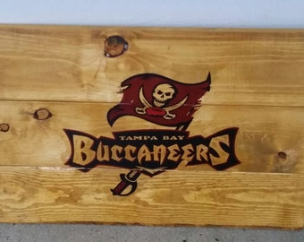 Tampa Bay Buccaneers stained wood sign