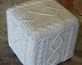 hand knitted woolen ottoman/poof. PRE-STUFFEDfloor cushion seating available in many colors