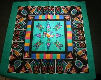 Vintage Turquoise Geometric Pattern Handkerchief 50/50 Cotton Polyester