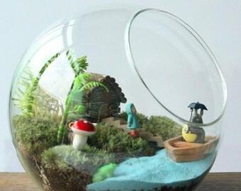 8 inch Side open Terrarium Bubble Bowl, Oblique Mouth Glass Terrarium