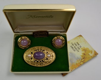 Krementz 14K GP Pin/Earrings Set in Original Box w/Care Pamphlet
