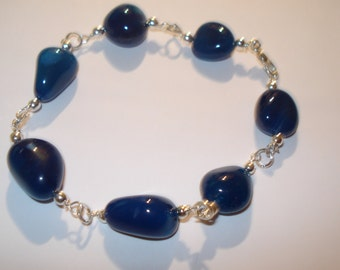 "Blue Agate Nugget Bracelet 8"""