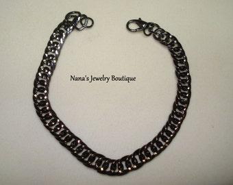 "Gunmetal Finish, Textured Curb, Chain Bracelet 7.5"""