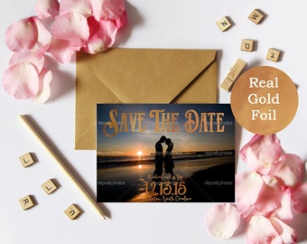 Real Gold Foil Photo Save The Date || Envelopes Included
