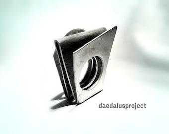"Maxi Ring, Handmade, ""Exercise # 1"", Modern, aluminum, satin, oxidized"
