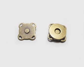 10 sets - 10 mm Antique Brass Sewing Magnetic Snaps Metal Closures Button purse making bag hardware - SRR.21