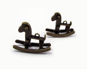 Free Shipping - 5 pcs - Antique Bronze Rocking Horse Charms Pendants Findings No.850 - JK.6