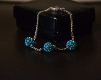 Blue disco ball chain bracelet