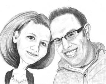 Couple Pencil Caricature Portrait from your Photo