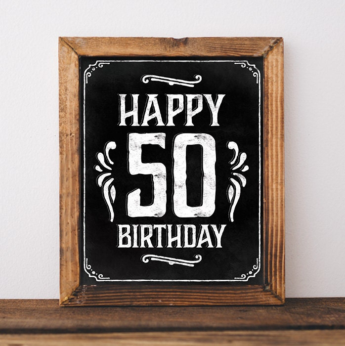 Vibrant image for printable 50th birthday signs
