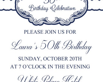 Surprise 50th Birthday Invitation,30th, 40th / 60th / Digital Printable Invitation/ Customized 70th any age. Adult Birthday Invitation No.16