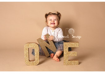 8 inch Paper Mache Letters, Stand up LETTERS ONE, photo props, First Birthday cake smash letter.
