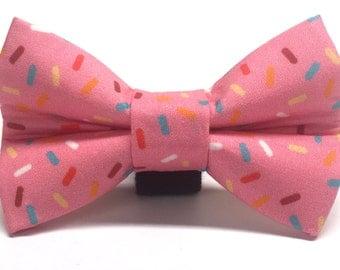 Mmm Donuts Pink Sprinkle Dog Bow Tie