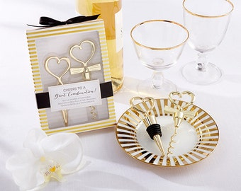 Cheers To A Great Combination Gold Bottle Stopper And Cork Screw Wine Set