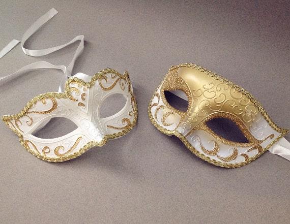 Couple Masquerade Mask Pair Centerpiece Cake Topper White Masquerade