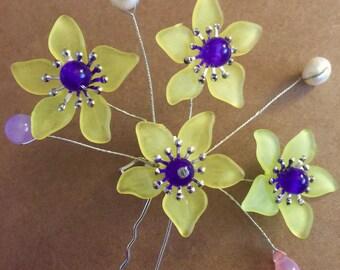 Yellow Star Flowered Hair Pin