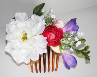 Bridal floral comb, Bridal flower comb, Bridal hair accessories, Wedding floral comb, Spring bridal hair comb