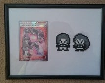 Pixel Mini Hama/Perler Bead Pokemon Team Rocket (Jessie and James) with Full Art Fates Collide Trainer Card (Framed)