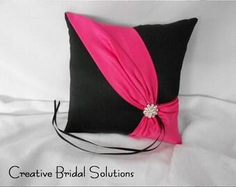Black and Fuchsia Wedding Ring Bearer Pillow- Diagonal