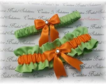 Bamboo Orange Satin Bridal Garter Set, Green Bridal Garter, Lime Wedding Garter Set, Orange Bridal Garter, Apple Green Bridal Garter