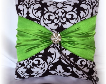 Black and White Damask Wedding Ring Pillow with Apple Green