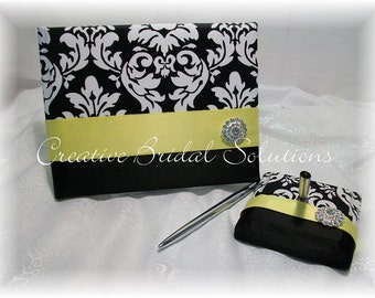 Black and White Damask with Yellow Wedding Guest Book and Pen Set