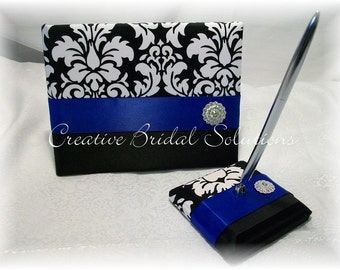 Black and White Damask Royal Blue Wedding Guest Book and Pen Set