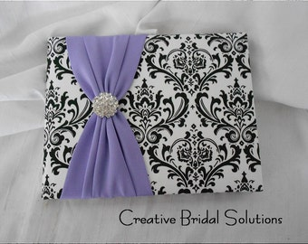 Damask Guest Book Black and White with Violet