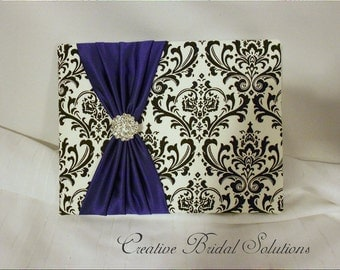 Black and White Madison Damask with Purple Wedding Guest Book