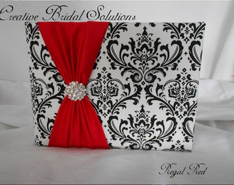 Black and White Madison Damask with Regal Red Wedding Guest Book