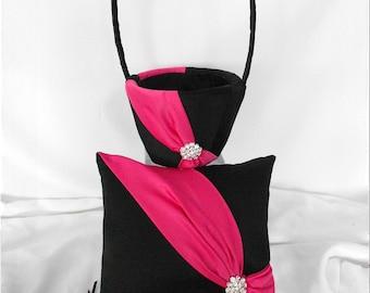 Black and Fuchsia Pink Wedding Flower Girl Basket and Ring Pillow Set- Diagonal
