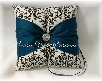 Black and White Madison Damask with Teal Wedding Ring Bearer Pillow